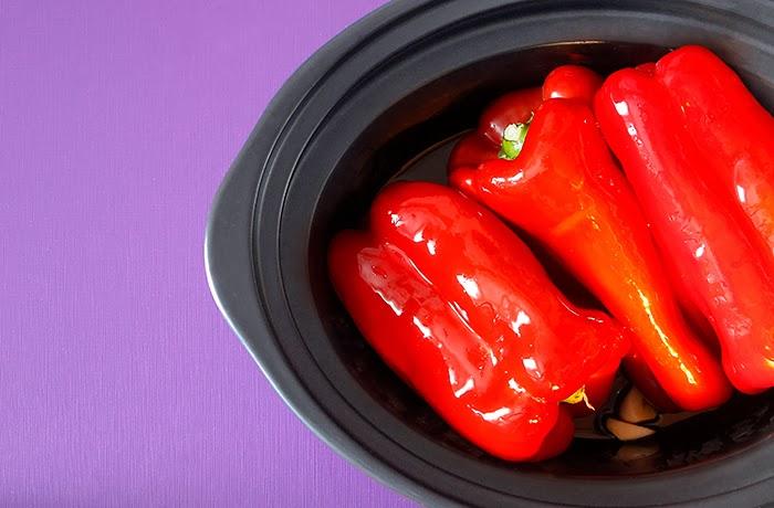 ta de ensalada de pimientos en Crock Pot