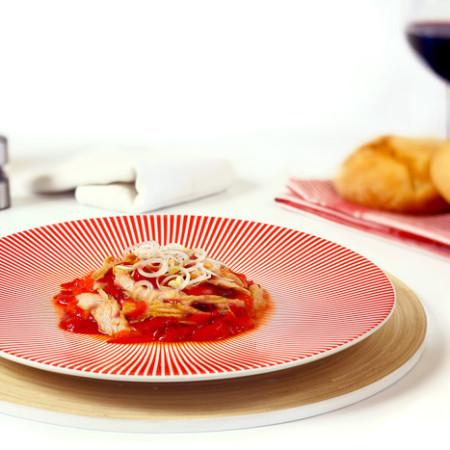 Ensalada de pimientos rojos y ventresca. Recetas de cenas para crock pot
