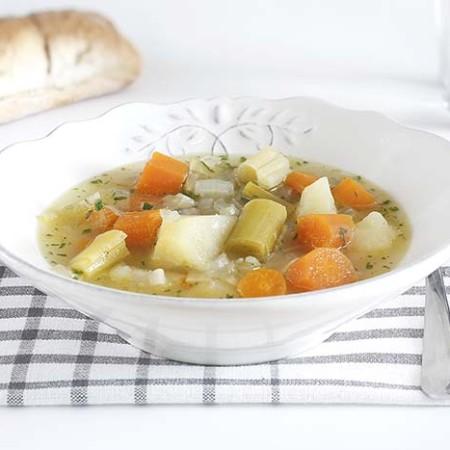 Receta de porrusalda en Crock Pot. Recetas de cenas para crock pot
