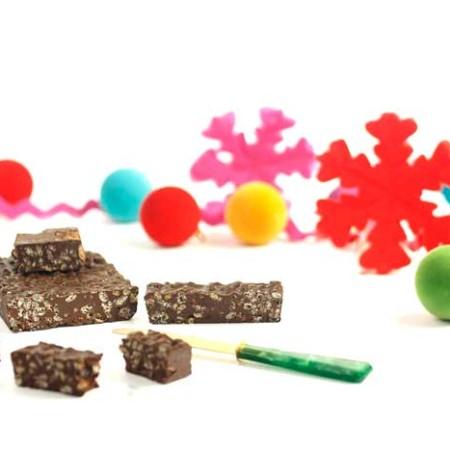 Turrón de chocolate crujiente. Receta de Navidad en Crock Pot