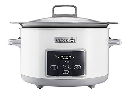 Crock-Pot Duraceramic con display digital Csc026X - Olla de cocción lenta de 5 L, color blanco