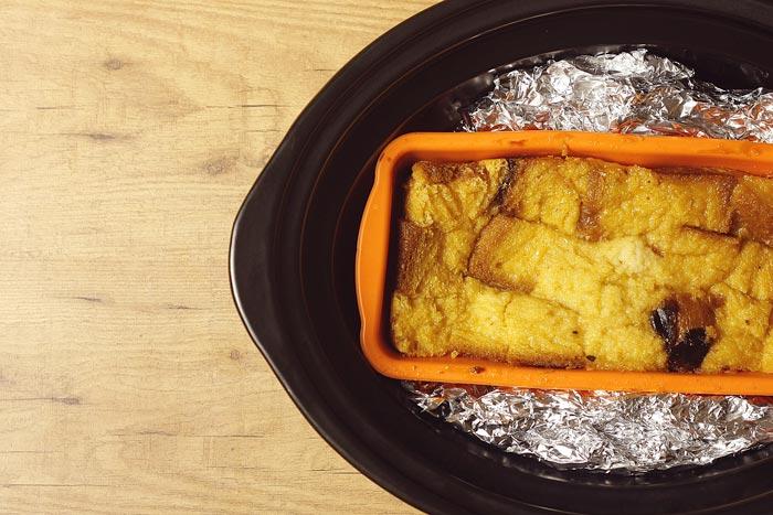 Puding de pan perdido. Receta para Crock Pot