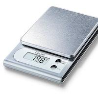 Beurer KS22 - Balanza de cocina, medición 3kg/1 gr, digital, pantalla LCD, plataforma en acero inoxidable, color plateado