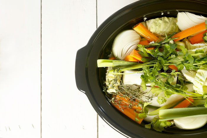 Caldo de verduras. Receta para Crock Pot