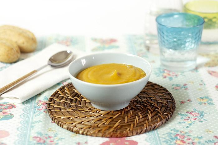 Crema de calabaza asada, chirivía y naranja