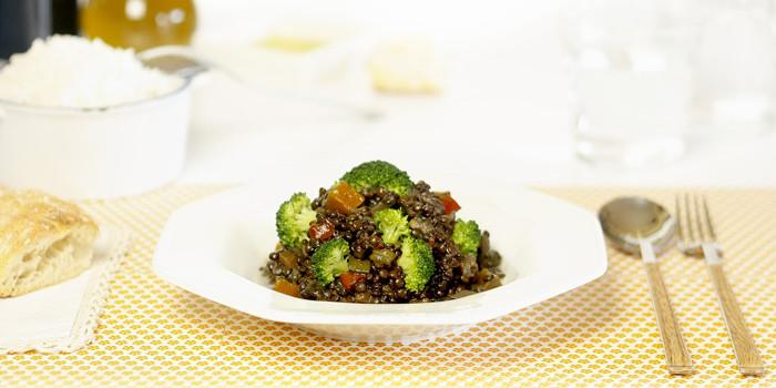 Lentejas beluga con verduras en Crock Pot