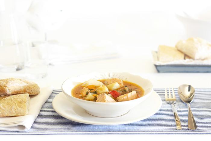 Marmitako de salmón. Receta para Crock Pot