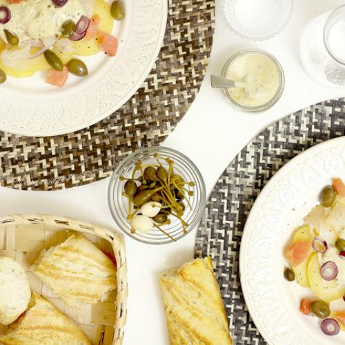 Ensalada de patata y ahumados. Recetas de cenas para crock pot