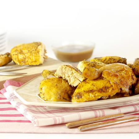 Pollo asado en crock pot o slow cooker. Recetas de cenas para crock pot
