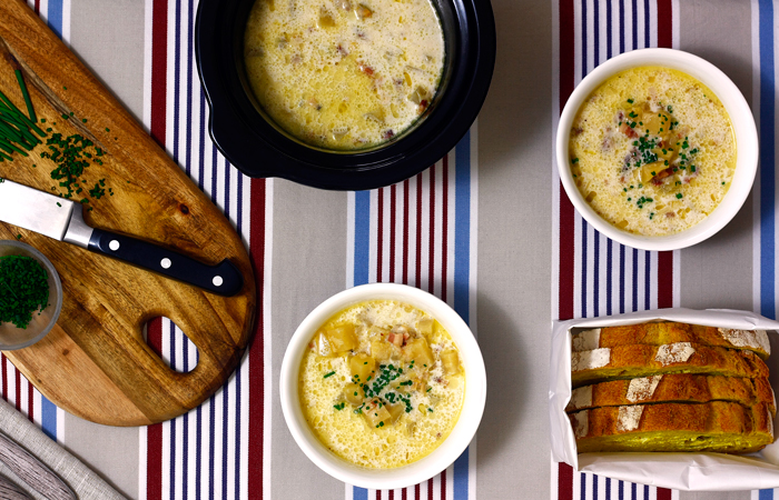 Clam chowder. Recetas de cenas para crock pot