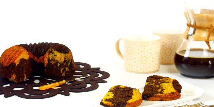 Bizcocho marmolado de calabaza y chocolate en crock pot