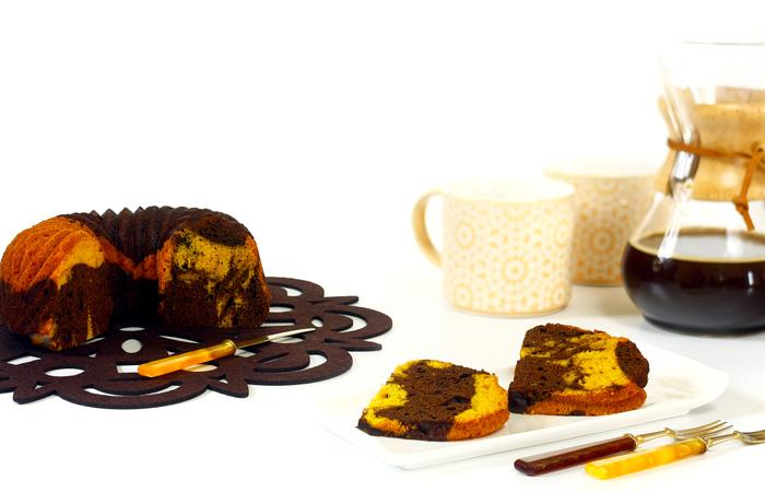 Bizcocho marmolado de chocolate y calabaza. Receta para crock pot