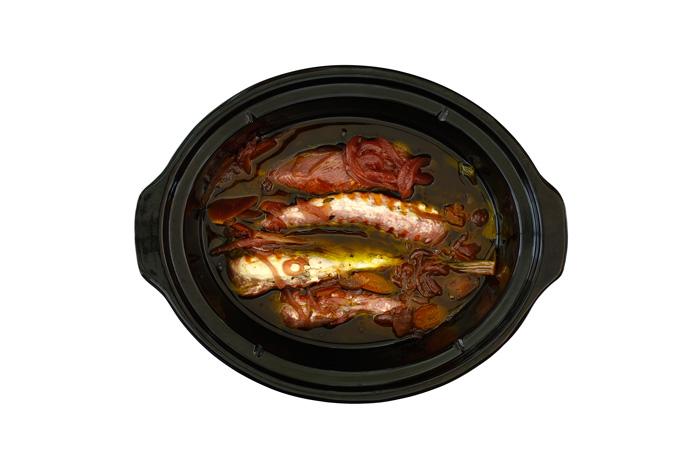 Pechuga de pollo con verduras en escabeche. Receta para crock pot