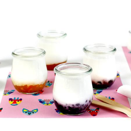 Tarritos de yogur con confituras. Receta para crock pot