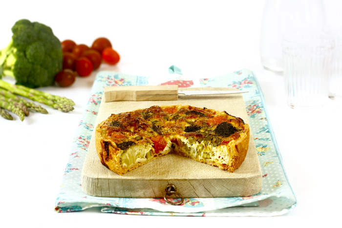 Quiche de verduras de temporada en crock pot o slow cooker