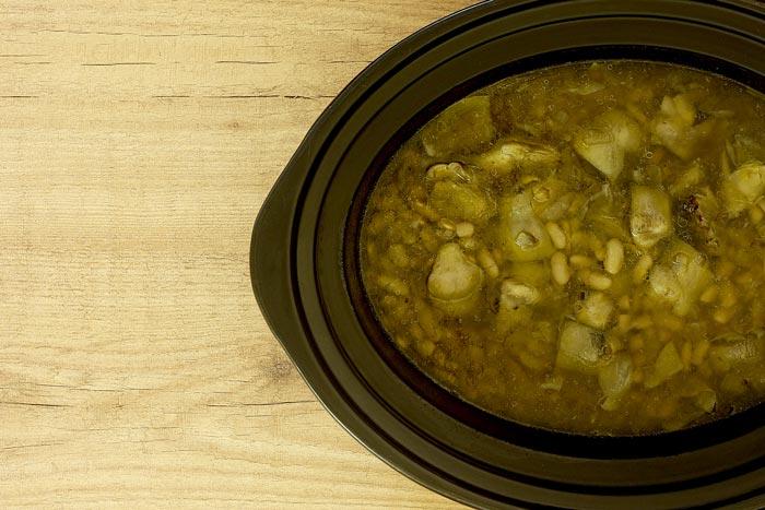 Verdinas con langostinos. Receta para crock pot o slow cooker