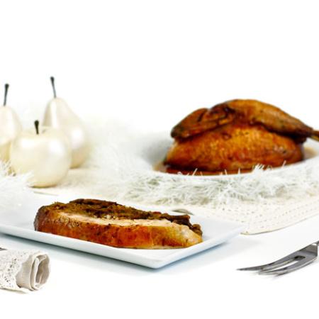 Pollo relleno de pan y peras. Receta para crock pot o slow cooker