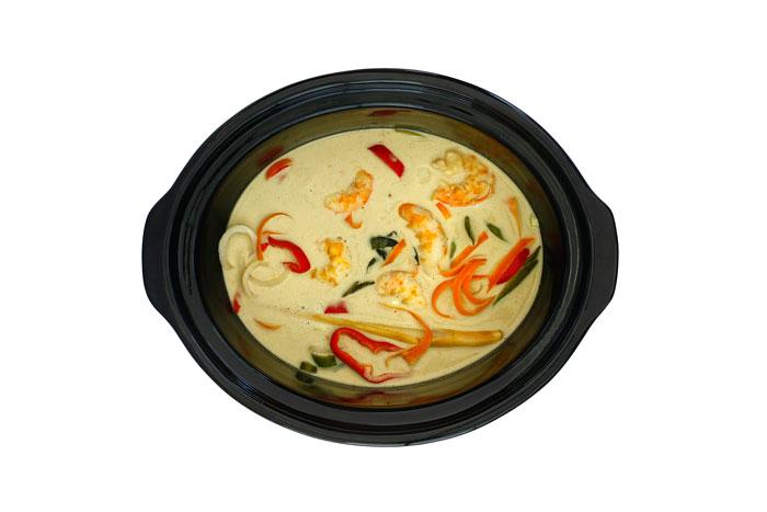 Curry de langostinos. Receta para crock pot o slow cooker
