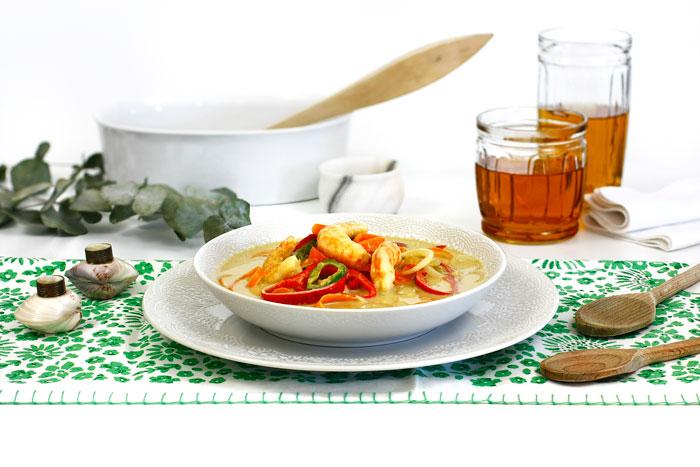Curry verde de langostinos
