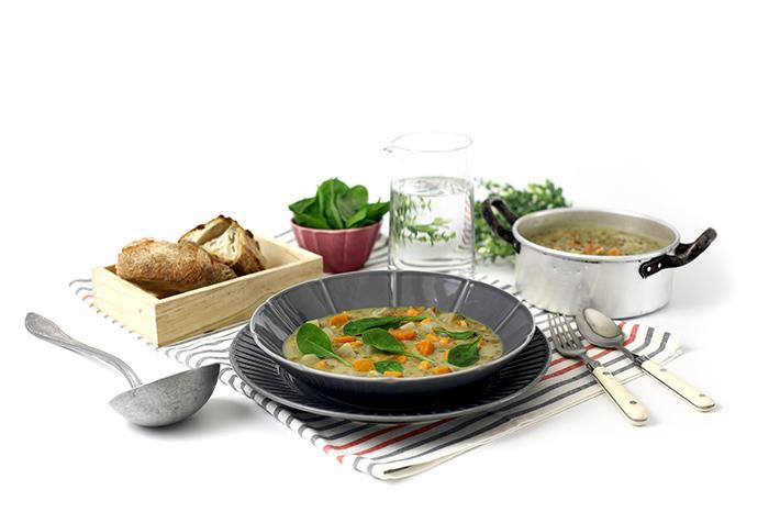 Lentejas con hortalizas y leche de coco. Receta para crock pot o slow cooker