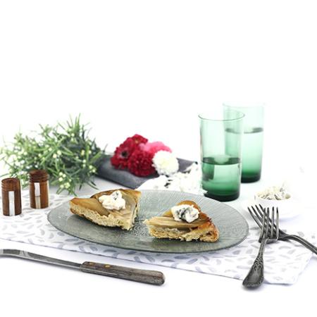 Tatin de peras, endivias y gorgonzola. Receta para crock pot o slow cooker