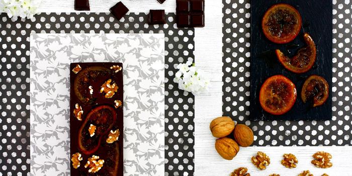 Chocolate negro con naranja confitada y nueces