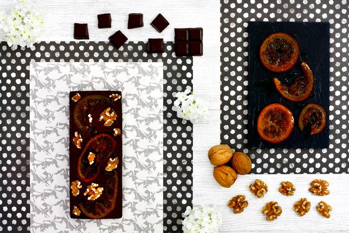 Chocolate negro con naranja confitada y nueces. Receta para crock pot o slow cooker