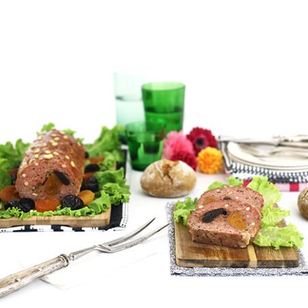 Pan de carne con ciruelas y albaricoques secos. Receta para crock pot o slow cooker