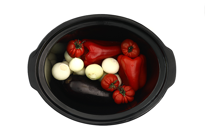 Panzanella de hortalizas asadas. Receta para crock pot o slow cooker